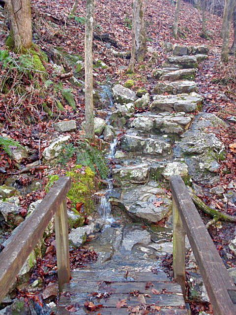 End of Bridge Steps and Waterfall