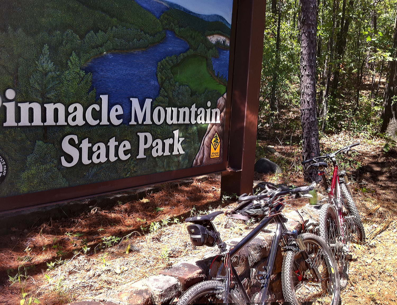 These bikes are pointed at the trailhead. Follow them.