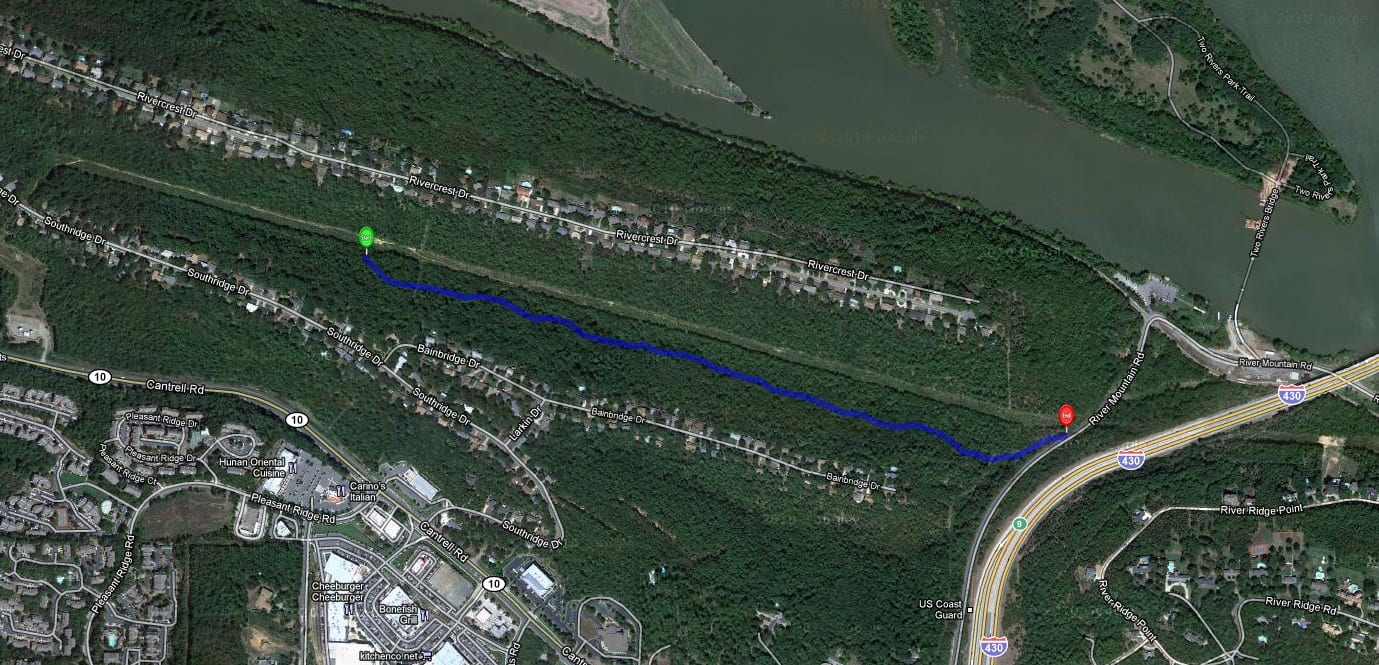 Map of part of the new trail at River Mountain Park.