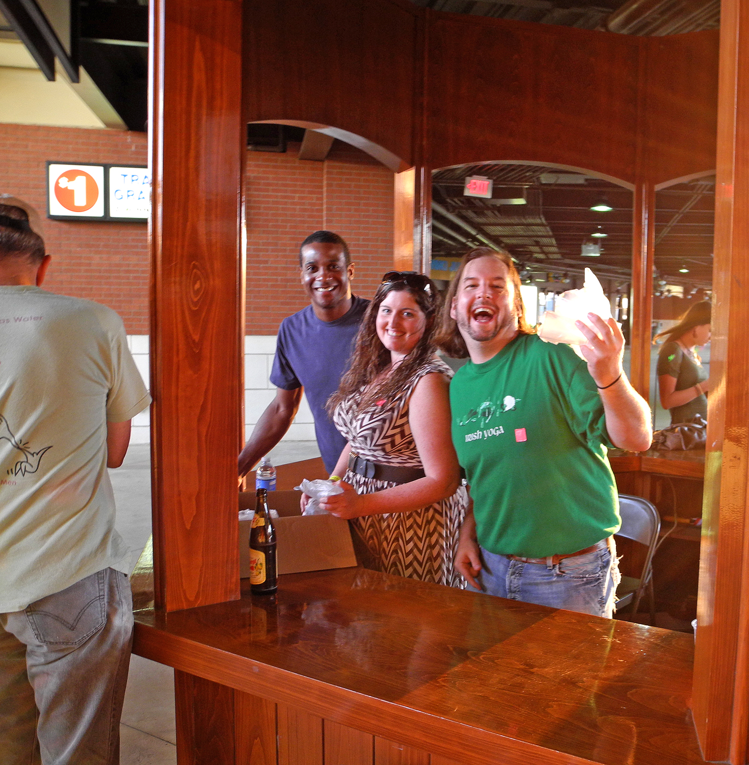 "The folks manning the ""free tasting glass"" booth seemed to be having a great time."