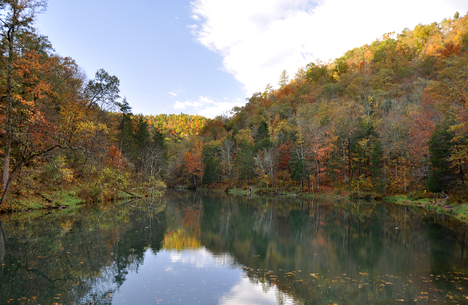Mirror Lake at Blanchard Springs Caverns Recreation Area. Taken 10/26/2010.