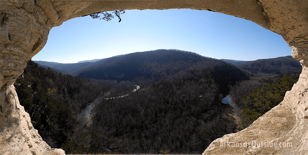 David and I made it to this small cave where I got a panoramic shot of the Buffalo River Valley.