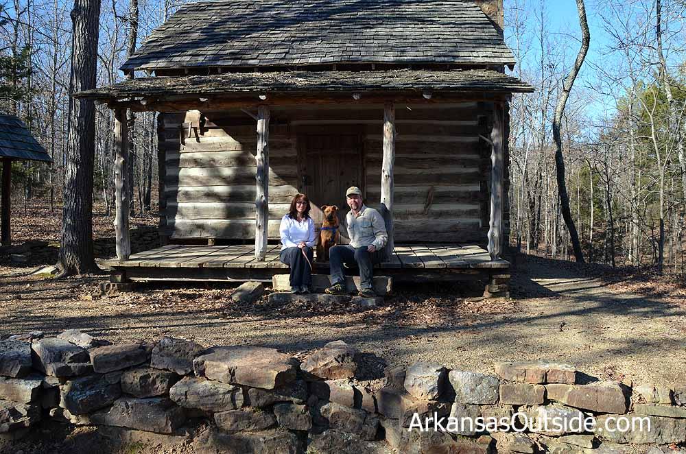 Lisa, Hobo and Joe at the Woolly Cabin.