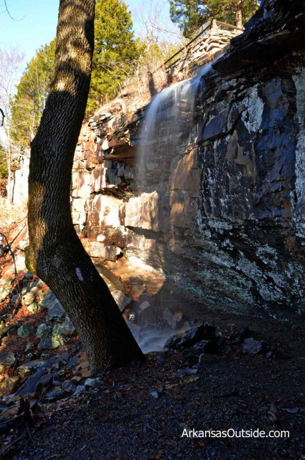Gum Springs Waterfall. Notice the trail going behind the falls.