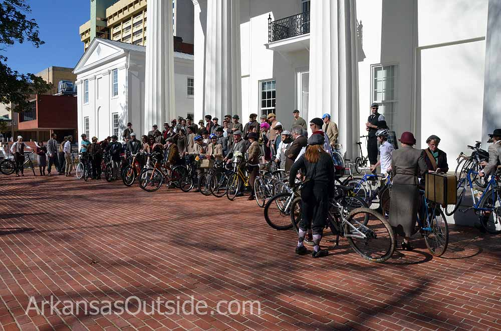 Getting ready for the group shot at the Old State House.