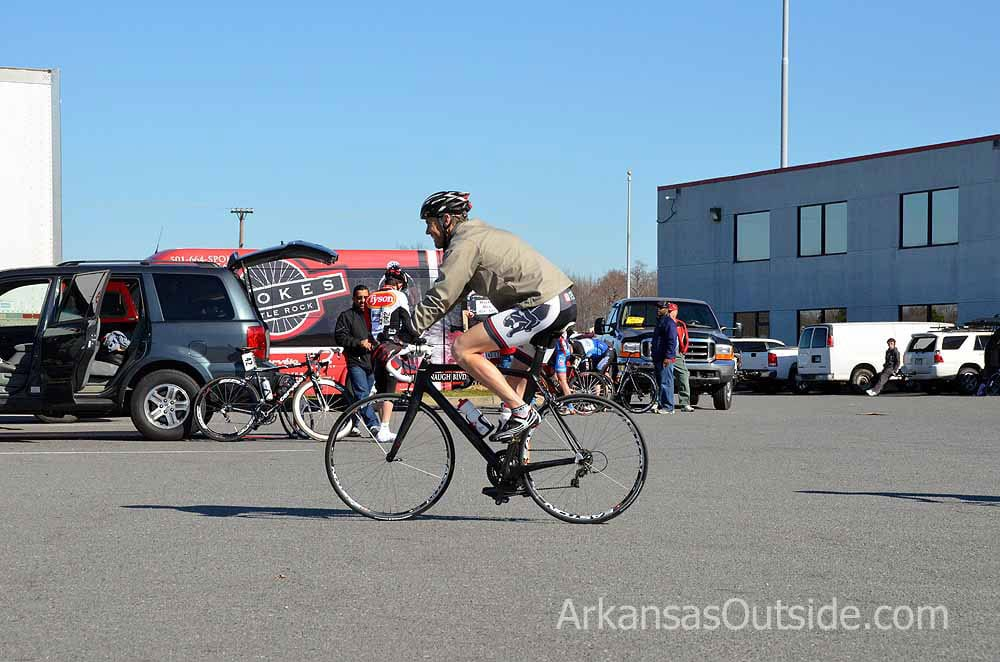 Riders warmed up in the truck stop parking lot.
