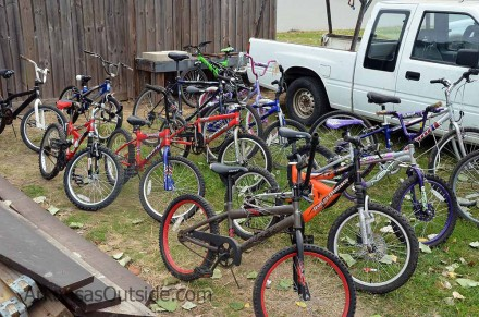 Some of the bikes from Recycled Bikes for Kids.