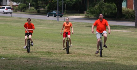 This family won the unicycle division.