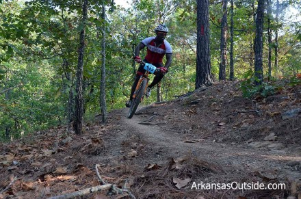 Chris getting a good lean on a turn in the Red Trail.