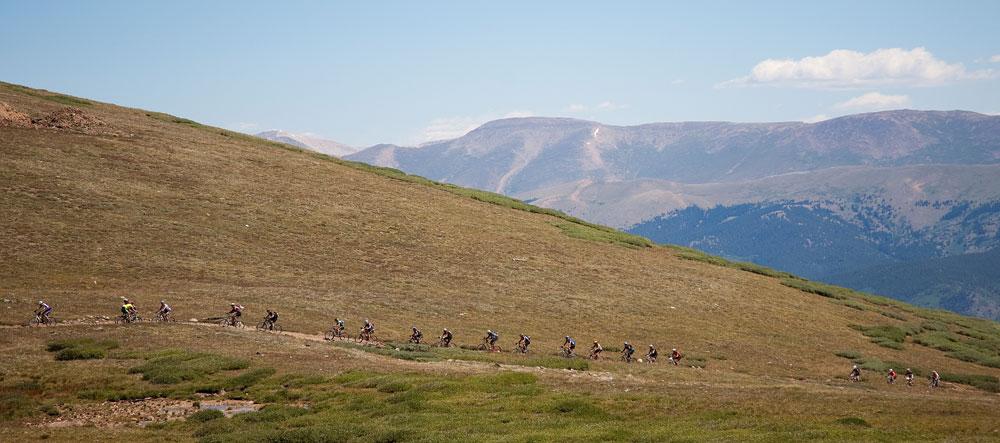 Heading up Columbine (photo courtesy of Leadvile Race Series)
