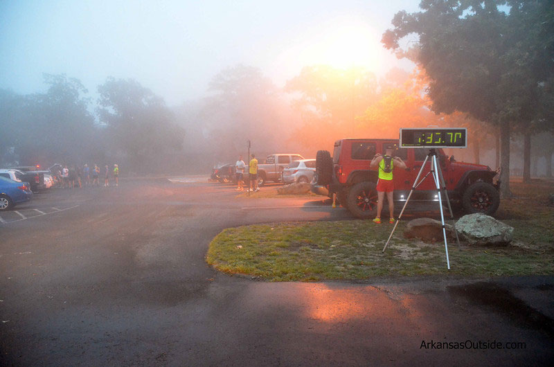 Fog at the top of the mountain greeted the racers.