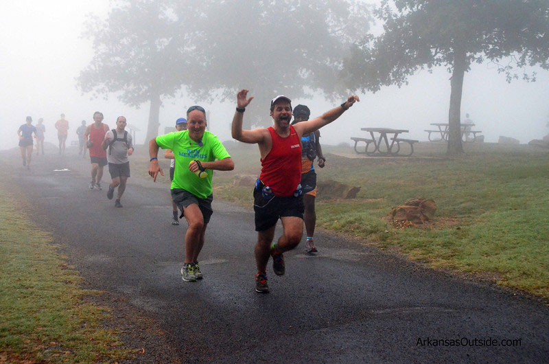 Runners emerged from the fog at Sunrise Point.