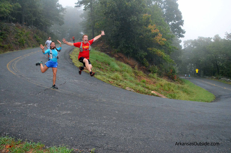 Runners were overjoyed to be heading down the mountain.