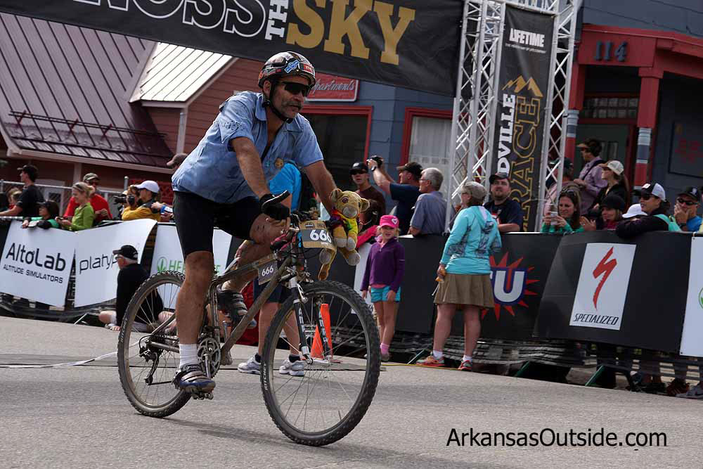 Ricky Mcdonald finishing his 19th Leadville 100 on the same bike he has always finished on.