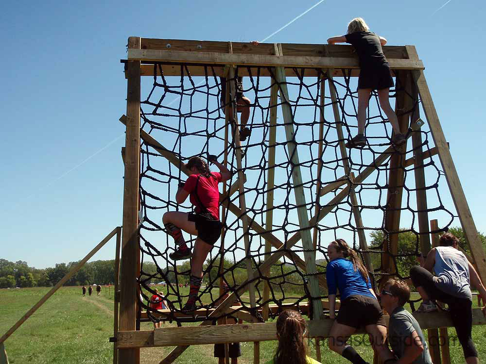 One of the cargo net obstacles near the end of the race.