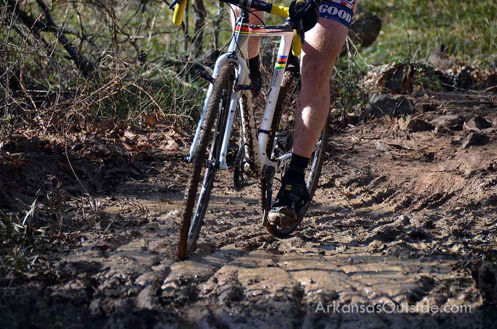 A muddy turn at Burns Park.
