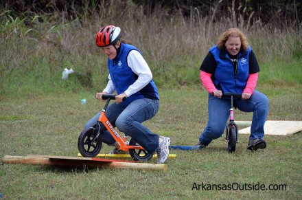 Bernadette and Willa from North Little Rock Fit2Live demonstrating how to use a balance bike.
