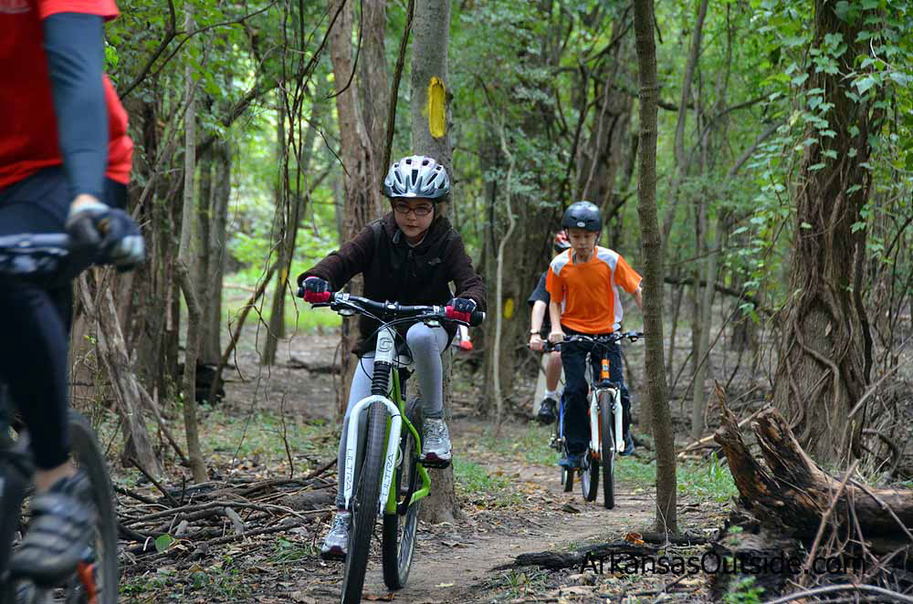 "Kids enjoying doing some ""real"" mountain biking."