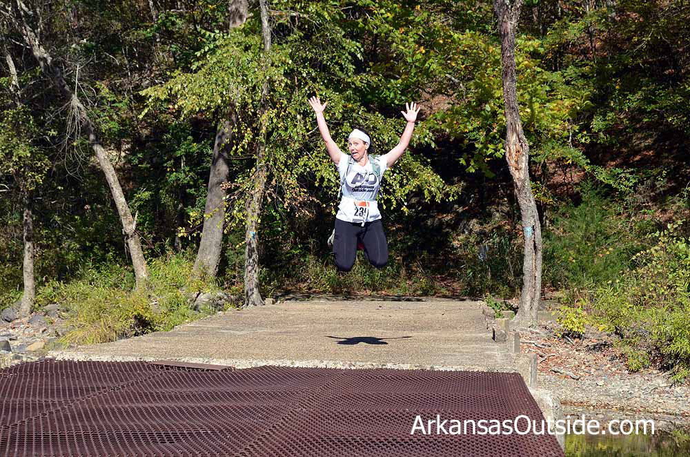 Lisa, fully stoked about the Cossatot River Trail Run.