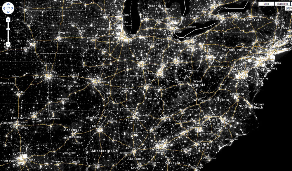 Tent Nights Arkansas Outside - Us light pollution map