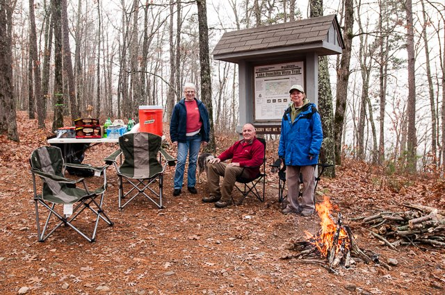 Aid station at the turnaround on Hickory Nut Mountain.