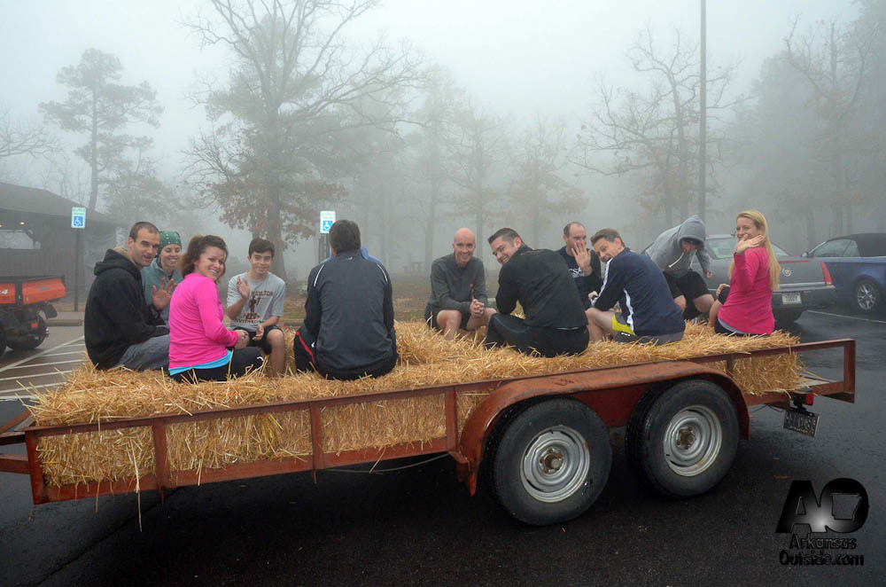 This race has a hay ride. Runners are transported to the start line the old fashioned way.