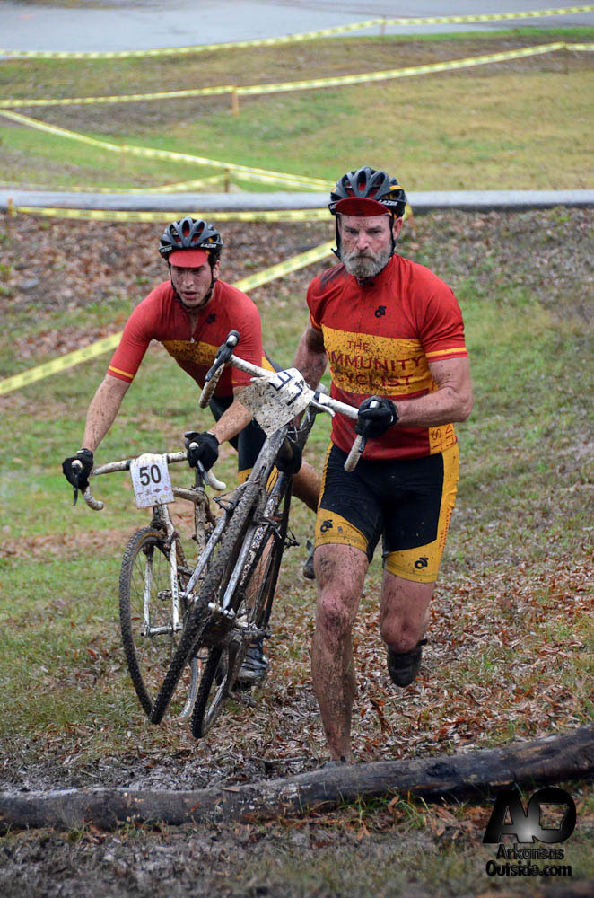 D.K. Williams and Andrew Hall of Team Community Bicyclist approach the barriers.