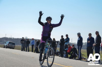 Women's Cat 1/2/3 winner, Andrea Wilson, is happy with her win.