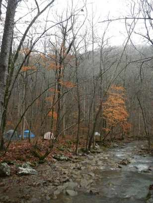 Hikers pitched their tents for an overnight stay at Bear Creek Canyon in north central Arkansas.