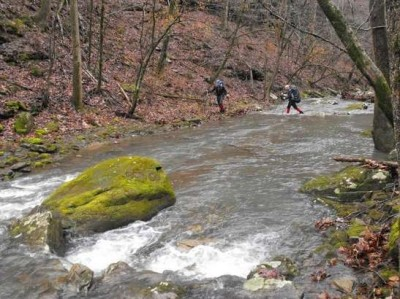 Two hikers carefully cross Bear Creek during a recent hike in the Ozark National Forest.