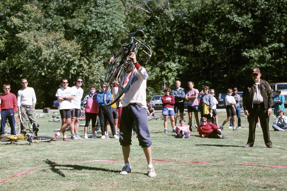"A popular event at many mountain bike festivals is the bike or ""Huffy"" toss."