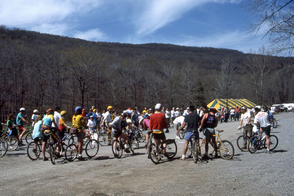 "Cyclists watching the ""Log Pull"" event."