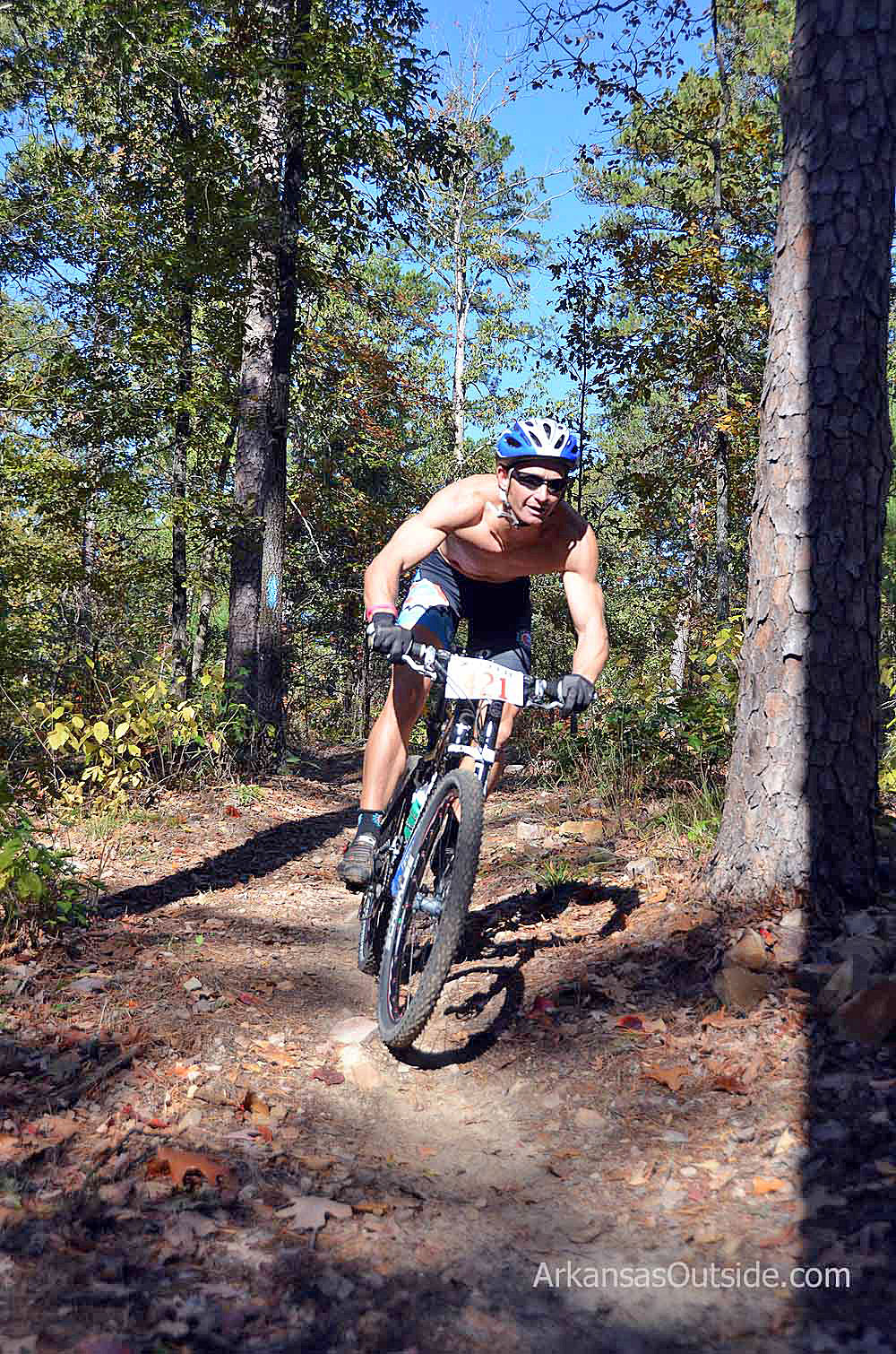 In the middle of the 34 mile mountain biking section of the Iron Mountain XTERRA Epic.