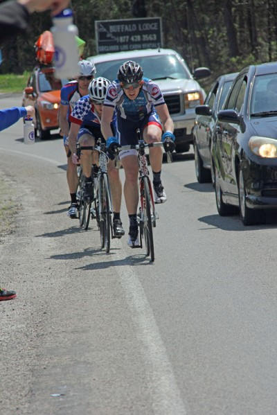 The author (2nd) and a couple others chasing the leaders near the Mt. Sherman feed zone. (photo by Mandy McCorkindale)