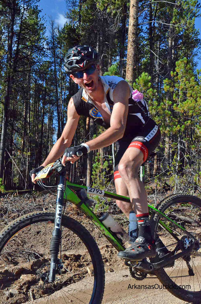 The author competing in the Leadville 100 Mountain Bike Race last year.