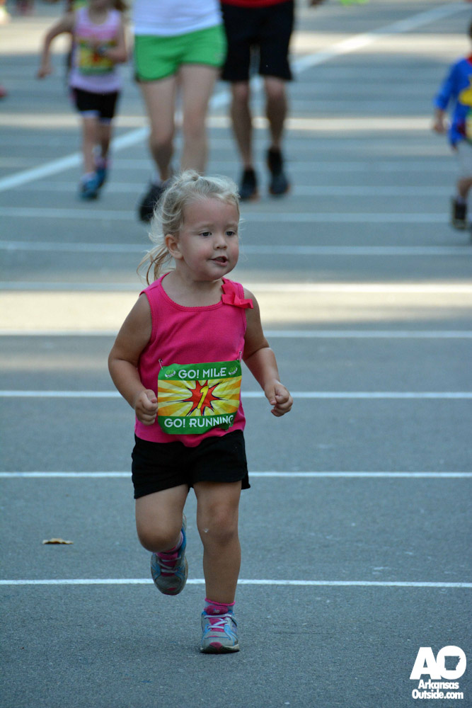 Making her final push in the Kid's Mini Mile.