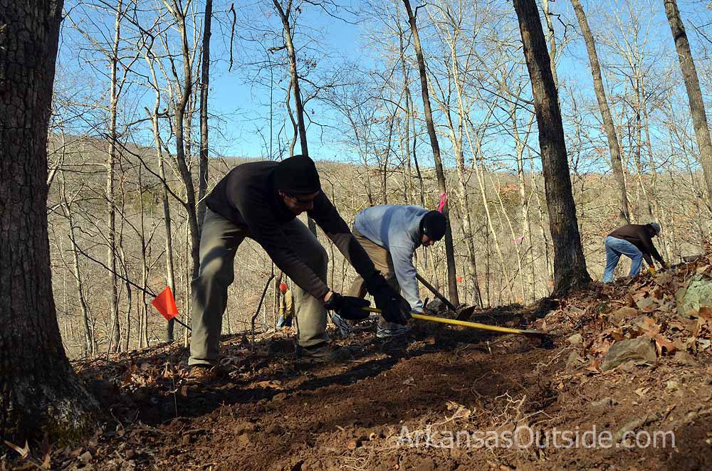 Building trail at Devil's Den State Park.