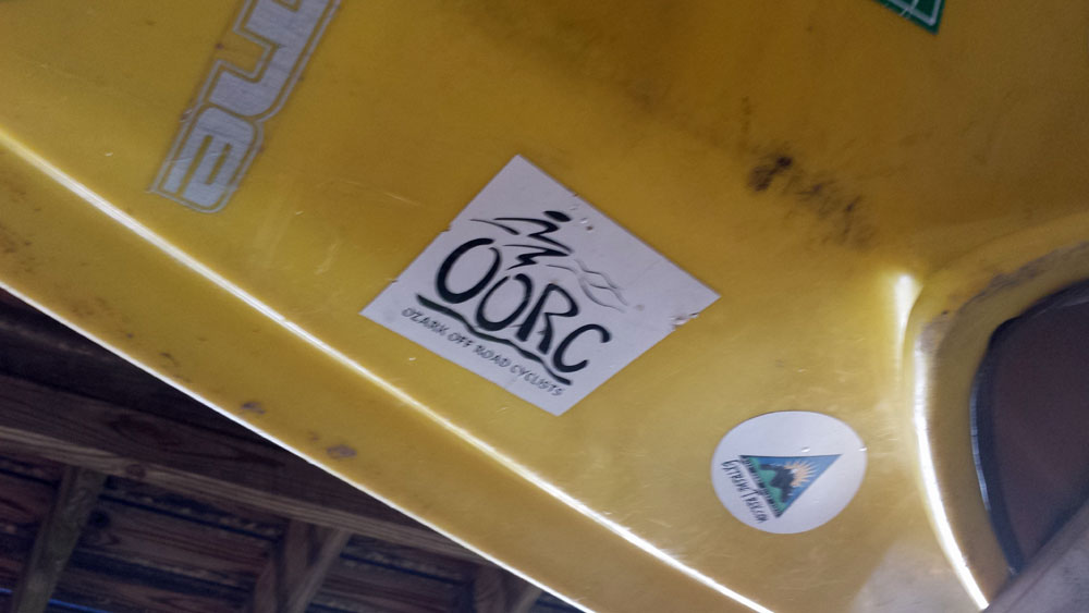 An old sticker on an older boat.