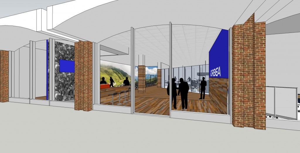 Concept drawing of the retail entrance, coffee bar to the left.