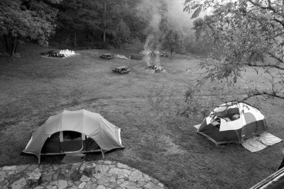 Camping at the lodge.
