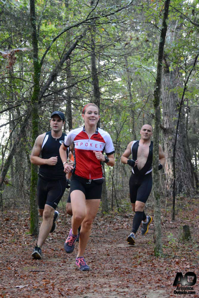 Runners in the woods