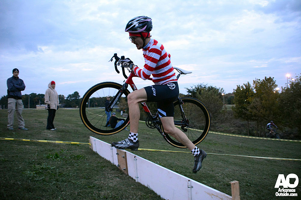 Waldo working a barrier crossing on the far side of the course.
