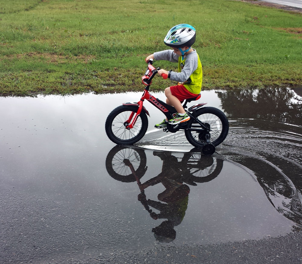 Kids, Puddles and Mountain Bikes