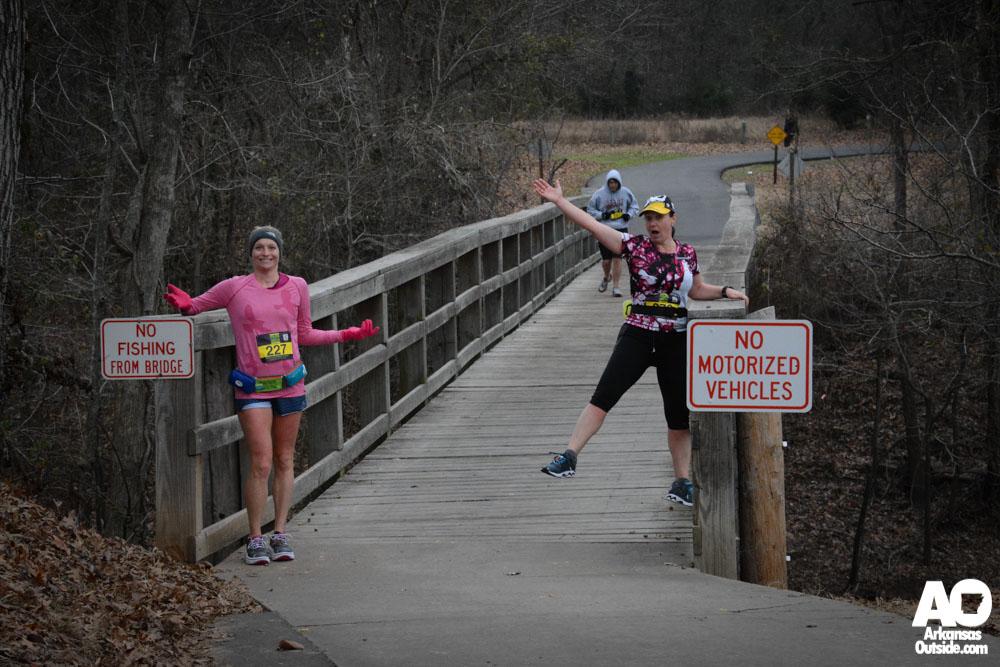 Lisa and Ashley at another small bridge at Burns Park.