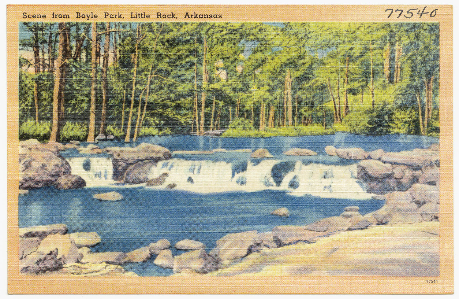 Here is an old post card depicting a small water fall along Rock Creek in Boyle Park.