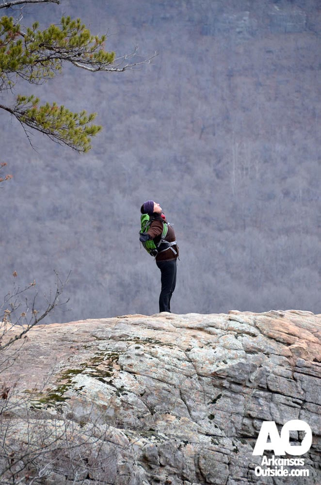 Lisa enjoying her first trip to Hawksbill Crag.