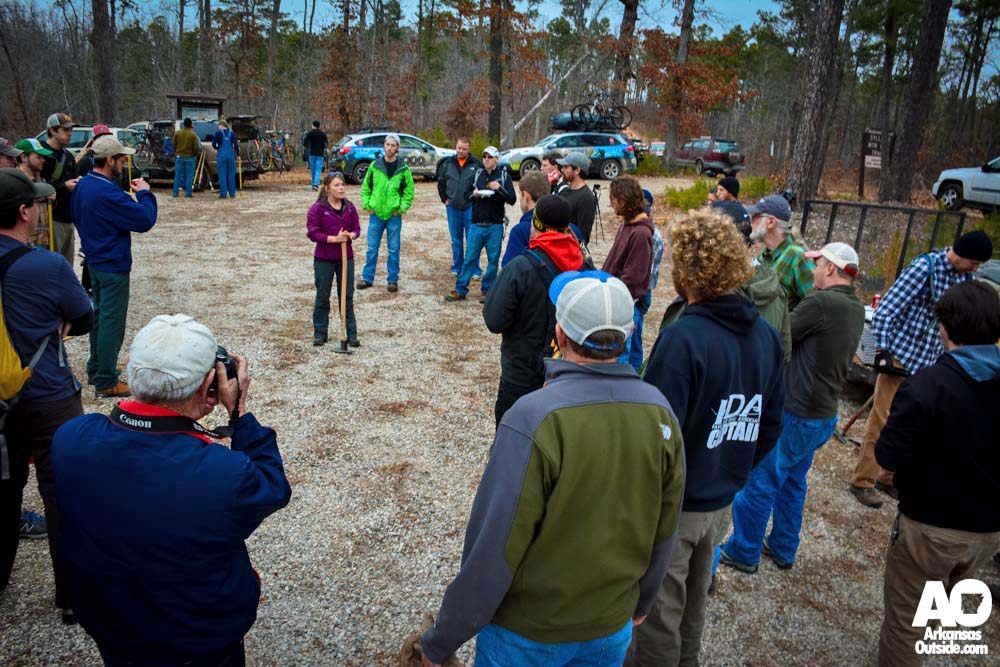 Lori gives some final safety tips before taking everyone out on the trail.