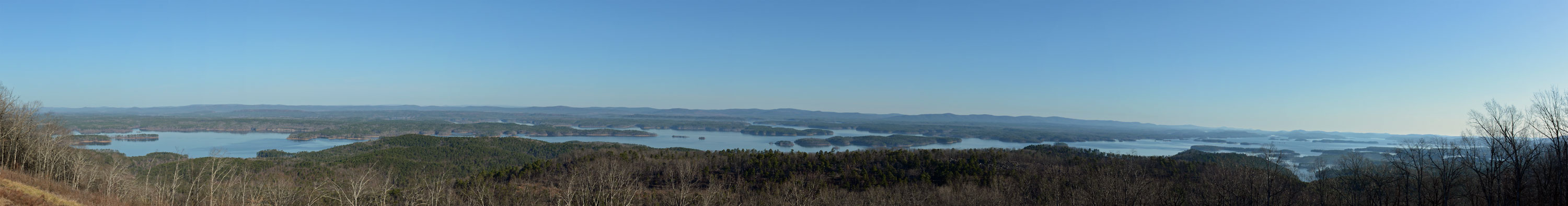 The View from the top of Hickory Nut Mountain of Lake Ouachita. (click on the photo for a larger size.)