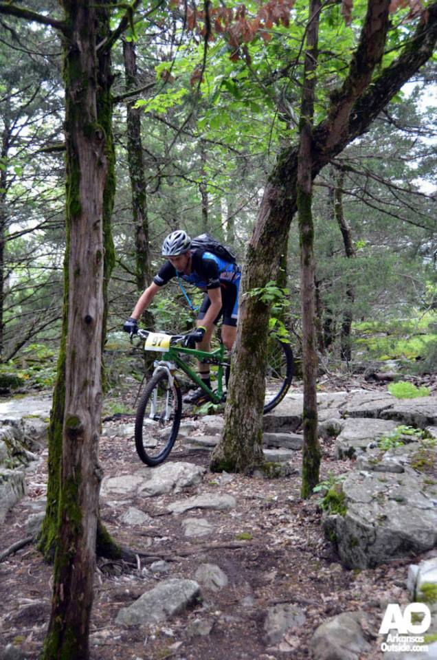 Riding a more technical section of the Syllamo.