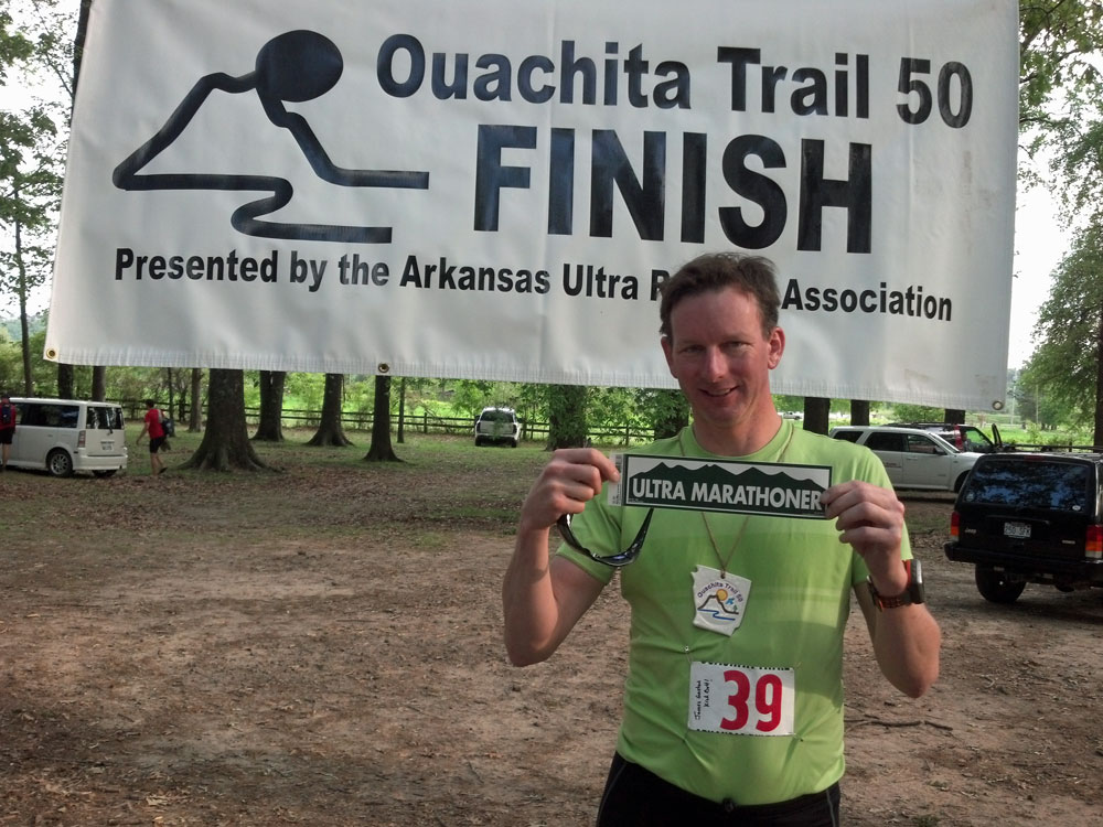 After finishing my first 50 mile trail run at the Ouachita Trail 50.